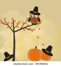Halloween cute card with owl, pumpkin and hat. Vector