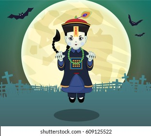 Halloween with Cute Chinese Zombie vector, illustration. (Caption: Stop Zombie)