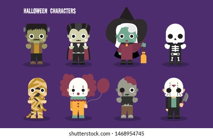Halloween cute scary monster characters set