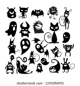 Halloween cute vector illustrationset of cheerful halloween characters on a white background. vector illustration