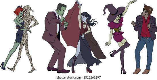 Halloween. Dancing monsters. Zombie girl, mummy, Frankenstein, vampire, witch and werewolf. Vector color image on a transparent background.