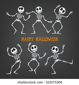 Halloween dancing skeleton with assorted expressions. Vector illustration.