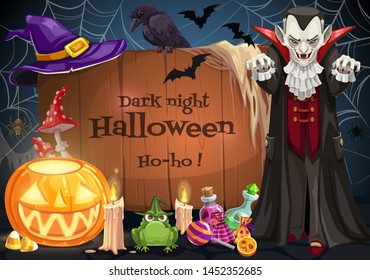 Halloween dark night lettering on wooden board and Dracula vampire. Vector jack-o-lantern pumpkin, burning candle and frog. Potions, sweet candies, witches hat and raven, cobweb and bats in dark sky