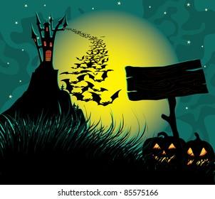 Halloween dark scene with spooky castle.