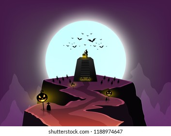 halloween day, witches cook in large boiler on sacrificial altar, moutain beautiful, and pumpkin pillars ,there are bats flying under the moon.