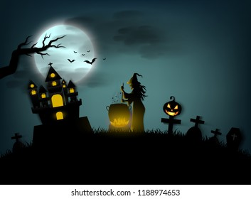 halloween day ,witches cook in large boiler in the castle grave and ghost scary and dark flying bats and moon