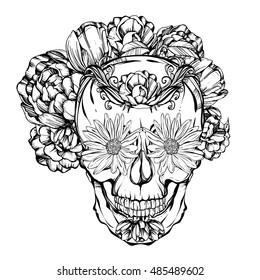 Halloween. Día de los Muertos. skull adorned with flowers. Handmade. Tattoo design. Vector illustration.Coloring book page design
