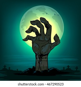 Halloween, Dead Man's arm from the ground, illistration for poster, zombie party, postcard, vector