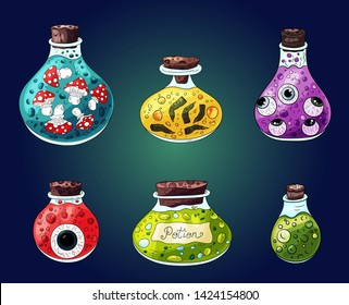 Halloween decoration. Bottle jar with magic,  many types potion. Halloween party invitations, scrapbook images. Isolated hand drawn cartoon style magic potions  liquids in jars different shapes.