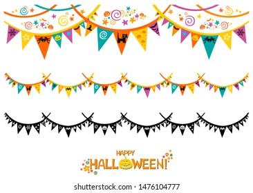 Halloween Decorations Set in Flat Style Isolated on White. Flag Garland with Holiday Cute Characters. Collection of Halloween Themed Bunting. Vector Illustration.