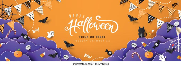 """Halloween-Dekorations-Border aus festem Hintergrund und """"Halloween""""-Text Kalligrafische Lettern Vektorgrafik."""