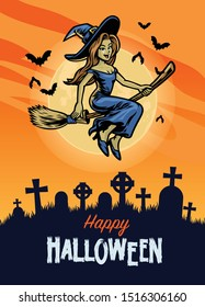halloween design with cute witch riding flying broom