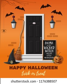 Halloween design. Home of the wicked witch and her little monsters. The house is decorated for the Halloween holiday. Vector illustration