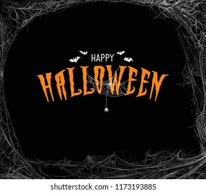 "Halloween design template with cobweb and incription ""Happy Halloween"". Halloween greeting card design."