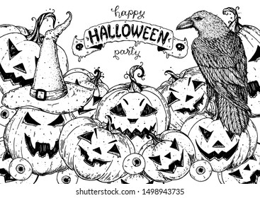 Halloween design template. Hand drawn invitation. Pumpkins and raven sketch. Vector illustration with Halloween  symbols. Engraved style. Autumn holidays.