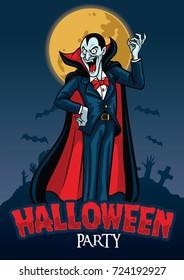 halloween design of vampire with graveyard background