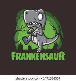 halloween dinosaurs zombie frankenstein character mascot designs