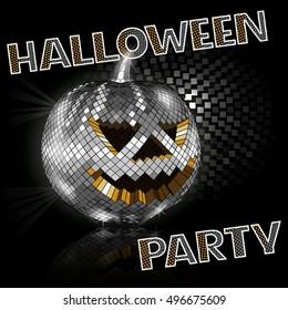 Halloween disco ball on black. Party.  Vector illustration