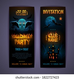 Halloween disco party poster with burning letters and human skull silhouette. Invitation design. Halloween background