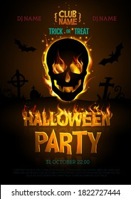 Halloween disco party poster with burning letters and human skull silhouette. Halloween background