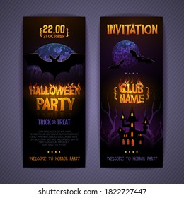 Halloween disco party poster with burning letters, full moon and bat silhouette. Invitation design. Halloween background