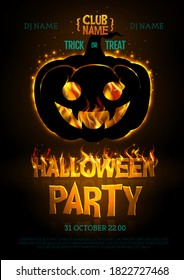 Halloween disco party poster with burning letters and jack o lantern. Halloween background