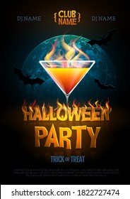 Halloween disco party poster with burning letters and cocktail. Halloween background