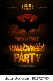 Halloween disco party poster with burning letters, full moon and bat silhouette. Halloween background