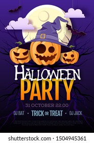 Halloween disco party poster with jack o lantern pumpkin and full moon. Halloween background