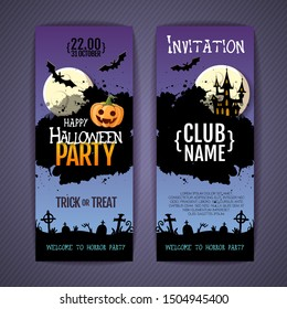 Halloween disco party poster with jack o lantern pumpkin and full moon. Invitation design. Halloween background