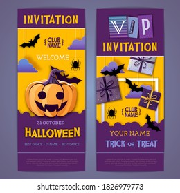 Halloween disco party poster with jack o lantern and gift boxes. Invitation design. Halloween background