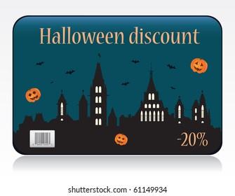 Halloween discount card vector