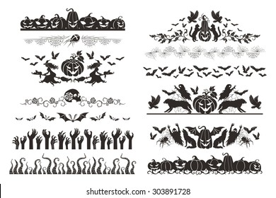 Halloween dividers collection. Horizontal borders with holiday objects and characters. Spiders, web, witches and pumpkins.