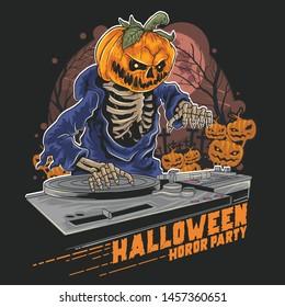 HALLOWEEN DJ MUSIC PARTY PUMPKIN HEAD WITH DJ MUSIC VECTOR