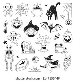 Halloween doodle collection. Vector illustration of funny black and white icons such as skeleton, grave, skull, pumpkin, owl, toad, cat, ghost and a witch isolated on white.
