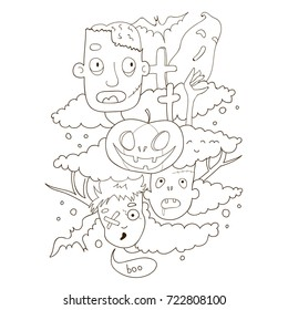 halloween doodle coloring page for kids, pumpkin ,zombie