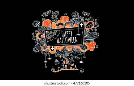 Halloween doodle vector illustration with the words happy halloween surrounded by skulls, bats, pumpkins, ghosts, cobwebs and abstract shapes on black background