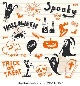 Halloween doodles elements. Vector background.