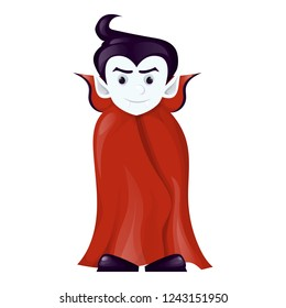 Halloween dracula vampire costume cartoon character vector illustration. Boy in vampire costume draculas. Evil horror monster spooky scary fantasy kid.