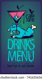 Halloween drinks menu card design concept, zombie hand and martini