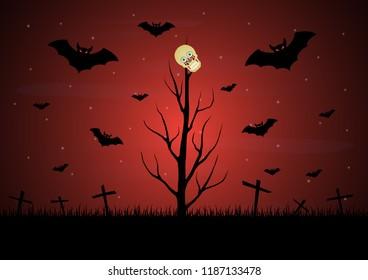 Halloween dry dead tree skull bat vector