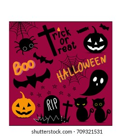 Halloween element and character illustration vector set (spider, bat, Jack O'Lantern, ghost, tomb, black cat, candy, spider web) design for banner, poster, greeting card, party invitation.