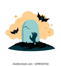 Halloween element grave and hand vector illustration. Sinister grave vector clipart.