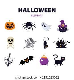 Halloween elements. Happy Halloween. Vector illustration in cartoon style. Flat design.