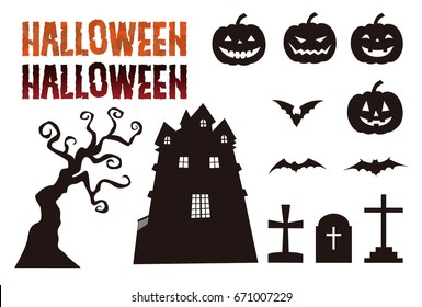 Halloween elements, jack o lantern, bat, grave, haunted mansion, tree and lettering