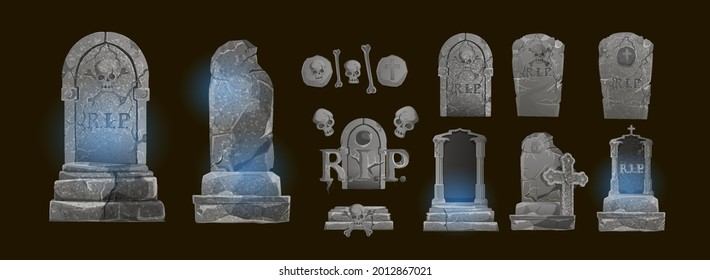 Halloween Elements and Objects for Design Projects. tombstones for Halloween. Ancient RIP. Grave on a dark background
