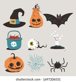 Halloween elements vector cartoon set isolated on background.