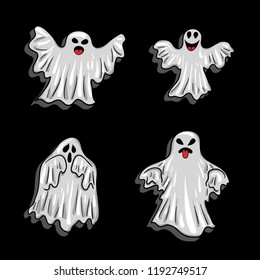 Halloween elements - white gloomy ghosts in the style of a cartoon. Stickers for All Hallows' Day