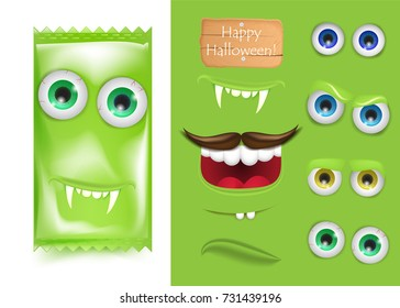 Halloween Emoji creator constructor of candy monster frankenstein. Smile and laught, vampire teeth and sad face . Trick or treat. Vector illustration for greeting card, ad, promotion, poster, flyer