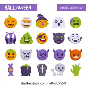 Halloween emoji set. Flat style vector illustration.